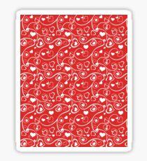 Red Hearts and Swirls Sticker