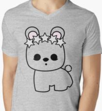 Cute Pet Bunny Rabbit Blanc de Hotot with Star Crown Men's V-Neck T-Shirt