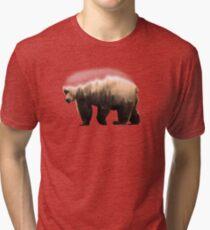 Double Exposure Wooded Bear Art Tri-blend T-Shirt
