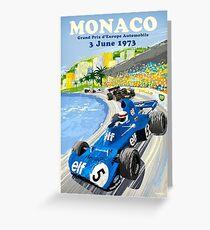 1973 European Grand Prix Monaco Race Poster Greeting Card