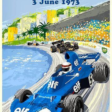 1973 European Grand Prix Monaco Race Poster by retrographics