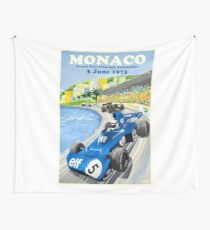 1973 European Grand Prix Monaco Race Poster Wall Tapestry