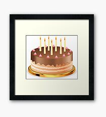 Chocolate cake with candles Framed Print