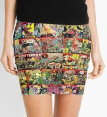 Creepy Comic Collage Mini Skirt