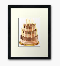 Chocolate cake with candles 2 Framed Print
