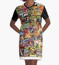 Sci-Fi Comic Collage Graphic T-Shirt Dress