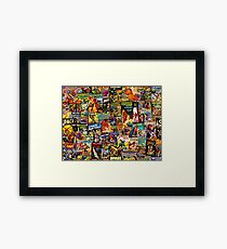 Sci-Fi Comic Collage Framed Print