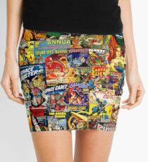 Sci-Fi Comic Collage Mini Skirt
