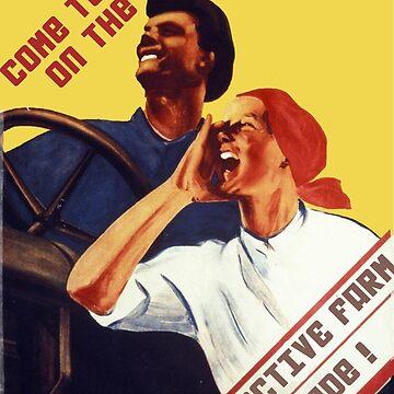 Komm zu uns! Auf der Kolchose, Kamerad! Kommunistisches Propagandaplakat 1931 von dru1138