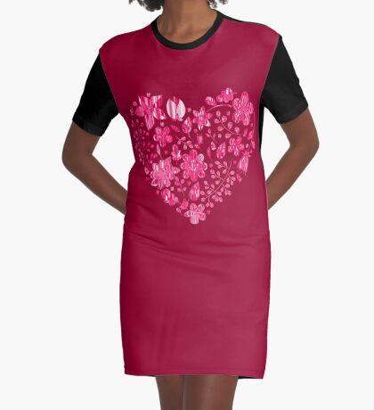 Pink Flower Heart Graphic T-Shirt Dress