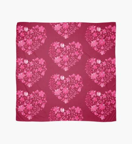 Pink Flower Heart Scarf