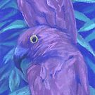 Purple parrots, couple of birds, pastel painting by clipsocallipso