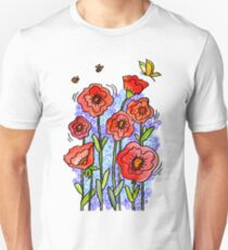 flowers red poppies T-Shirt