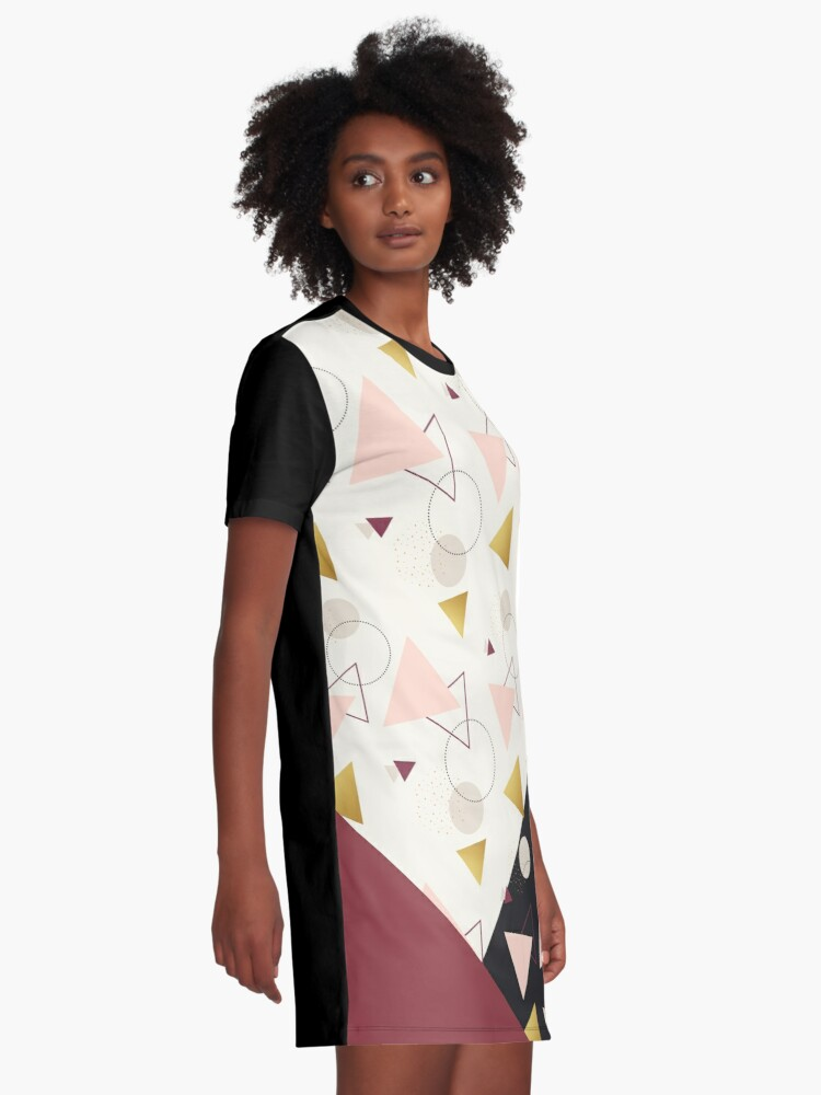 Alternate view of Triangles Mix #redbubble #decor #buyart Graphic T-Shirt Dress