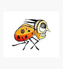 Funny Bug Running Hand Drawn Illustration Photographic Print