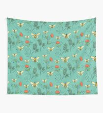 Bees and Flowers Wall Tapestry