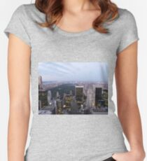 NYC Central Park View at Dusk Women's Fitted Scoop T-Shirt