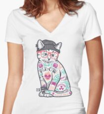 "Cats Put the ""Me"" in MEOW Fitted V-Neck T-Shirt"