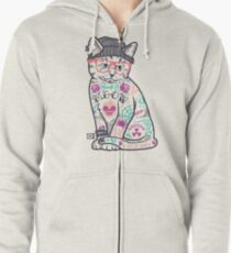 """Cats Put the """"Me"""" in MEOW Zipped Hoodie"""