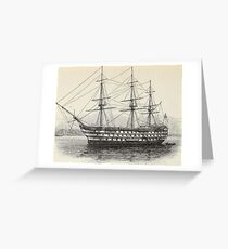 Old ship on the sea Greeting Card