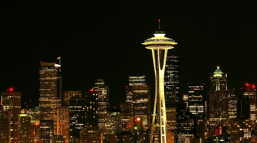 Seattle Skyline night by ajjj