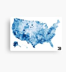US map visualisation: unemployment rate (D3.js) Canvas Print