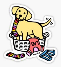 Yellow Labrador Laundry Basket Sticker