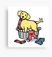 Yellow Labrador Laundry Basket Canvas Print