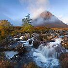 Glen Coe. Buachaille Etive Mòr. Misty morning in Autumn. River Coupall Waterfalls. Highland Scotland. by Barbara  Jones ~ PhotosEcosse