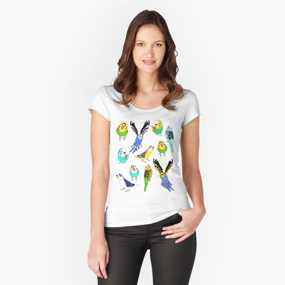 budgie doodle pattern Fitted Scoop T-Shirt