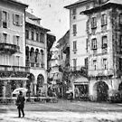 Italian square with snow - BW version by Silvia Ganora