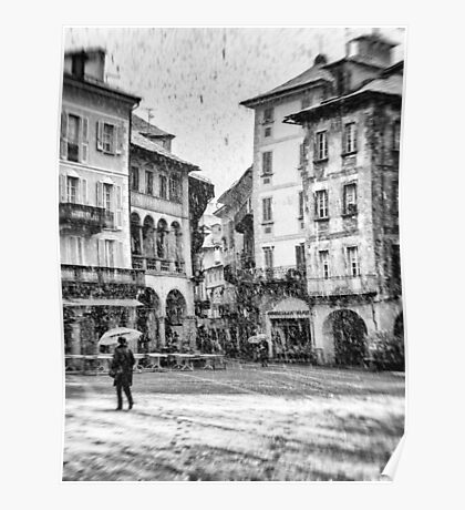 Italian square with snow - BW version Poster