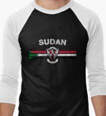 Sudanese Flag Shirt - Sudanese Emblem & Sudan Flag Shirt Men's Baseball ¾ T-Shirt