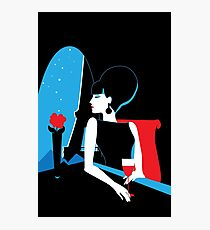 Stylish beautiful model in Paris. Art deco graphic illustration.  Photographic Print