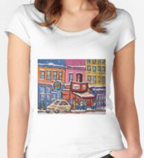 MONTREAL SNOWY DAY AT SCHWARTZ'S DELI CANADIAN ART BY CANADIAN ARTIST CAROLE SPANDAU Women's Fitted Scoop T-Shirt