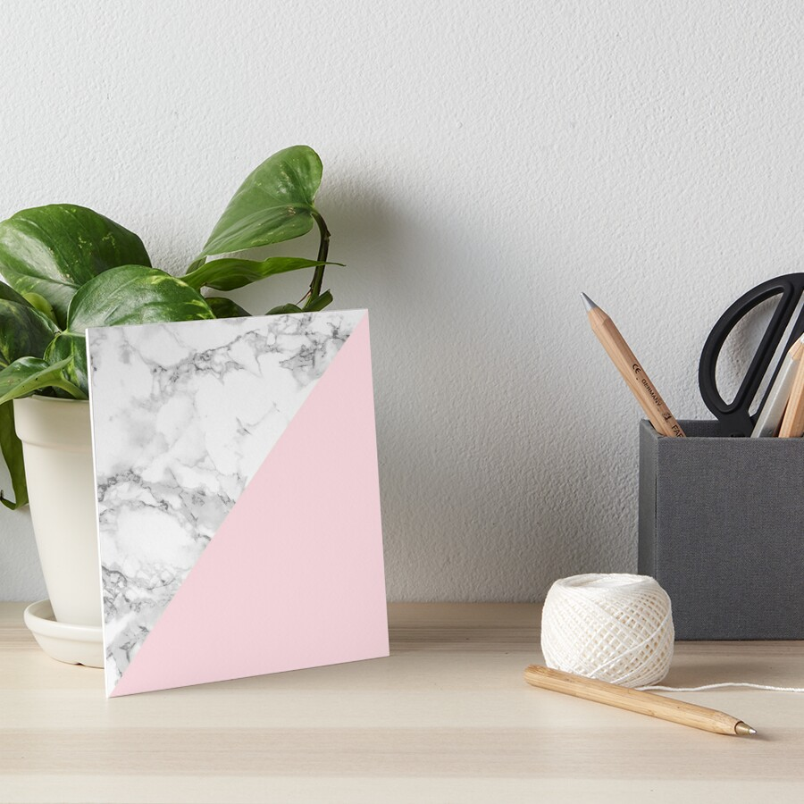 Marble + Pink Pastel Color. Classic Geometry. Art Board Print