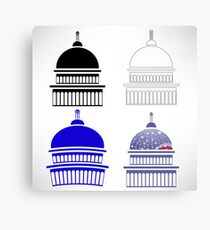 Set of Capitol Icons Isolated on White Background Canvas Print