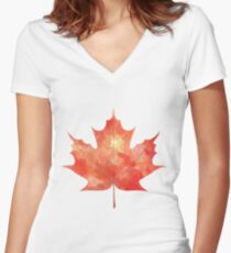 Watercolor Maple Leaf Women's Fitted V-Neck T-Shirt