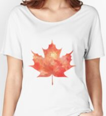 Watercolor Maple Leaf Women's Relaxed Fit T-Shirt