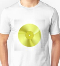 Gold Disc Isolated on White Background. Musical Record. Yellow Vinyl Icon T-Shirt