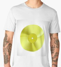 Gold Disc Isolated on White Background. Musical Record. Yellow Vinyl Icon Men's Premium T-Shirt
