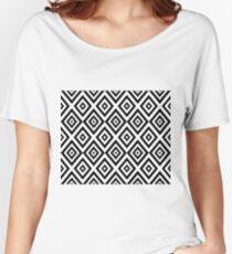 Abstract geometric pattern - black and white. Women's Relaxed Fit T-Shirt