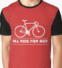 Funny Cycling Design - Will Ride For Beer Graphic T-Shirt