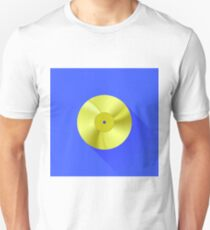Gold Disc Icon Isolated on Blue Background. Long Shadow T-Shirt