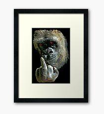 Gorilla Finger FU Framed Print