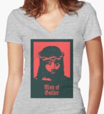 MAN OF GALILEE / JESUS OF NAZARETH Women's Fitted V-Neck T-Shirt