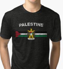 Palestinian Flag Shirt - Palestinian Emblem & Palestine Flag Shirt Tri-blend T-Shirt