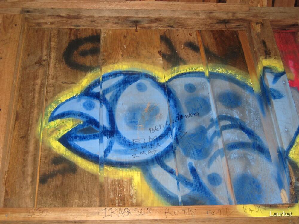 bridge graffiti in blue by Laurkat
