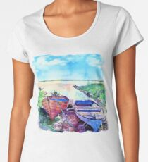 Two Boats on a Shore Women's Premium T-Shirt