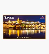 Vintage Prague Travel Poster Photographic Print